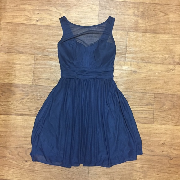 Davids Bridal Navy Bridesmaid Dress Short Mesh